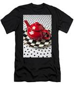 Red Teapot On Checkerboard Plate Men's T-Shirt (Athletic Fit)
