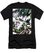 Snow Scene Of Little Bird Perched Men's T-Shirt (Athletic Fit)