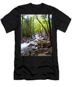 Spring Cascade Of Water From Bridal Veil Falls In Yosemite Np-2013 Men's T-Shirt (Athletic Fit)