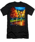 Stroll In The Night - Palette Knife Oil Painting On Canvas By Leonid Afremov Men's T-Shirt (Athletic Fit)