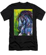 The Blue Horse On Green Background Men's T-Shirt (Athletic Fit)