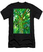 Tree With Owl Gnome And Mushroom Men's T-Shirt (Athletic Fit)