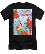 Winter Blue Cardinals-merry Christmas Card Men's T-Shirt (Athletic Fit)