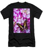 Yellow Black Butterfly On Hydrangea Men's T-Shirt (Athletic Fit)