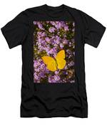 Yellow Butterfly On Pink Flowers Men's T-Shirt (Athletic Fit)
