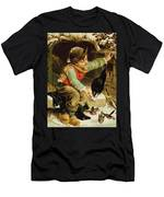 Young Boy With Birds In The Snow Men's T-Shirt (Athletic Fit)