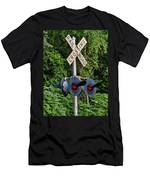 Railroad Crossing Light And Greenery Men's T-Shirt (Athletic Fit)