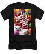 Red Tennis Shoes And Balls Men's T-Shirt (Athletic Fit)