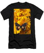 Spotted Butterfly On Yellow Mums Men's T-Shirt (Athletic Fit)