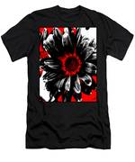 Abstract Red White And Black Daisy Men's T-Shirt (Athletic Fit)