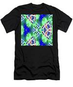 Abstract Seamless Pattern - Blue Green Turquoise Red White Men's T-Shirt (Athletic Fit)