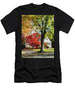Autumn Street With Red Tree Men's T-Shirt (Athletic Fit)