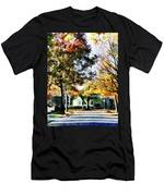 Autumn Street With Yellow House Men's T-Shirt (Athletic Fit)