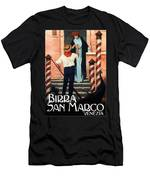 Birra San Marco, Venezia, Italy - Woman With Beer Glass - Retro Travel Poster - Vintage Poster Men's T-Shirt (Athletic Fit)