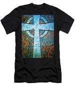 Blue Marbled Cross Men's T-Shirt (Athletic Fit)