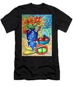 Blue Vase With Orange Flowers Men's T-Shirt (Athletic Fit)