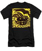 Bowl Of Fruit Black On Yellow Men's T-Shirt (Athletic Fit)