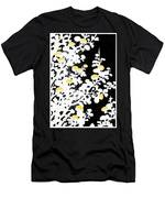 Branches Of White Yellow Leaves And Flowers At Night, Black Background Men's T-Shirt (Athletic Fit)
