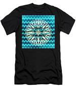 Chevron Print Compass Blue Men's T-Shirt (Athletic Fit)