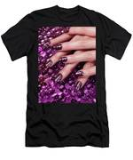 Closeup Of Woman Hands With Purple Nail Polish Men's T-Shirt (Athletic Fit)