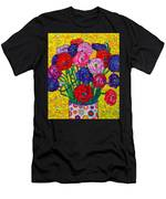Colorful Ranunculus Flowers In Polka Dots Vase Palette Knife Oil Painting By Ana Maria Edulescu Men's T-Shirt (Athletic Fit)