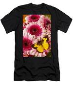 Dog Face Butterfly On Pink Mums Men's T-Shirt (Athletic Fit)
