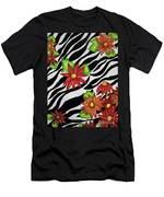 Floral Zebra Print Men's T-Shirt (Athletic Fit)