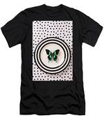Green And Black Butterfly On Plate Men's T-Shirt (Athletic Fit)