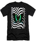 Green And Black Butterfly On Wavey Lines Men's T-Shirt (Athletic Fit)