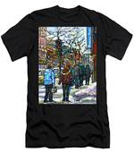 Promenade Au Centre Ville Rue Ste Catherine Montreal Winter Street Scene Small Paintings  For Sale Men's T-Shirt (Athletic Fit)