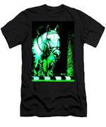 Horse Painting Jumper No Faults Black Blue And Green Men's T-Shirt (Athletic Fit)