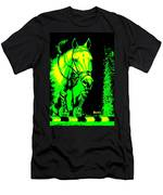 Horse Painting Jumper No Faults Green And Yellow Men's T-Shirt (Athletic Fit)