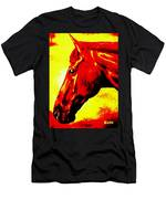 horse portrait PRINCETON yellow and red Men's T-Shirt (Athletic Fit)