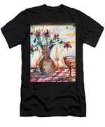 Italian Wine And Flower Vase On Table Men's T-Shirt (Athletic Fit)