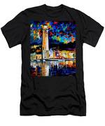 Lighthouse In Crete - Palette Knife Oil Painting On Canvas By Leonid Afremov Men's T-Shirt (Athletic Fit)