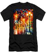Lonely Night 3 - Palette Knife Oil Painting On Canvas By Leonid Afremov Men's T-Shirt (Athletic Fit)