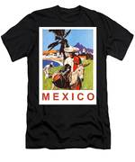 Mexico, Mexican Posing With Donkey Men's T-Shirt (Athletic Fit)