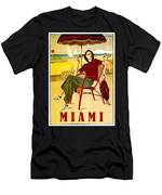 Miami, Woman On The Beach Under Sunshade Men's T-Shirt (Athletic Fit)