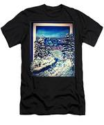 Midnight Winter Mountain Men's T-Shirt (Athletic Fit)