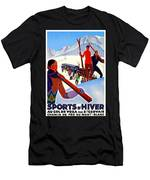 Mont Blanc, Mountain, France, Skiing Men's T-Shirt (Athletic Fit)