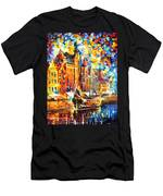 Old Port - Palette Knife Oil Painting On Canvas By Leonid Afremov Men's T-Shirt (Athletic Fit)