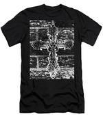 Ornate Cross 3 Bw Men's T-Shirt (Athletic Fit)