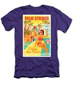Palm Springs Poster - Retro Travel Men's T-Shirt (Athletic Fit)