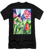 Pink Poppies Batik Style Men's T-Shirt (Athletic Fit)