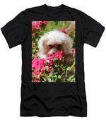 Puppy With Roses Men's T-Shirt (Athletic Fit)