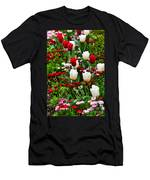 Red And White Tulips With Red And Pink English Daisies In Spring Men's T-Shirt (Athletic Fit)