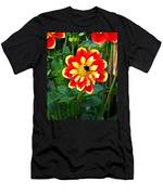 Red And Yellow Flower With Bee Men's T-Shirt (Athletic Fit)