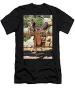 Saddle On Ranch Fence Men's T-Shirt (Athletic Fit)