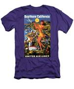 Southern California - United Air Lines - Retro Travel Poster - Vintage Poster Men's T-Shirt (Athletic Fit)