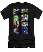 Stained Glass With Crucifix Silhouette Men's T-Shirt (Athletic Fit)